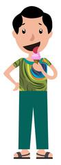 Cartoon teen boy licking ice cream illustration vector on white background © Morphart
