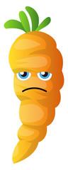 Sad cartoon carrot illustration vector on white background © Morphart
