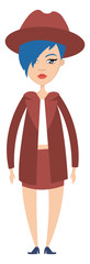 Girl in skirt illustration vector on white background © Morphart