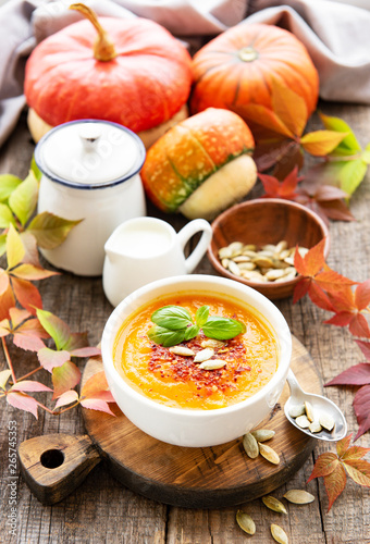 Bowl of pumpkin soup © almaje
