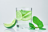 Coctail with lime and fresh mint on white background