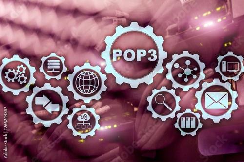 POP3. Post Office Protocol Version 3. Standard internet protocol on datacenter background.
