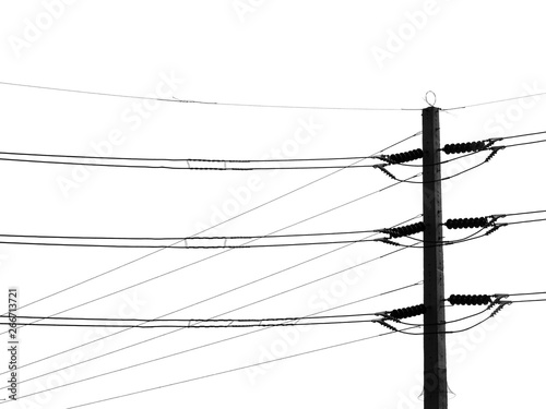 silhouette electric post on white background