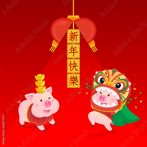 Happy New Year 2019  Chinese New Year  The year of the pig  Lucky