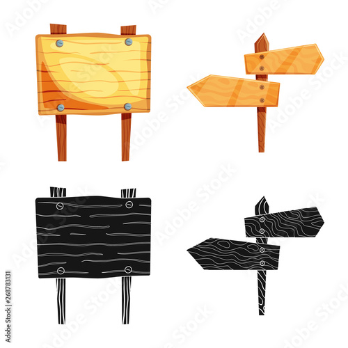 Isolated object of raw  and forest  symbol. Collection of raw  and hardwood stock vector illustration.
