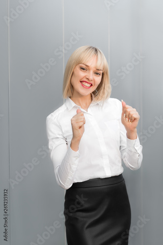Happy Successful Beautiful Businesswoman Or Student Girl