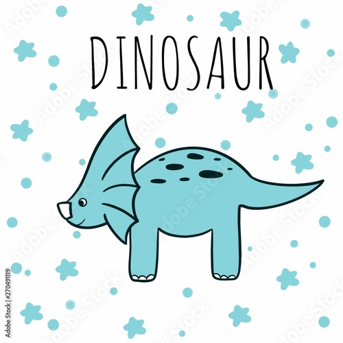 Hand drawn illustration with cute triceratops, dinosaur, dino. Repetitive wallpaper on blue star
